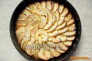 Готовый пирог достать из духовки и дать ему остыть в форме. Затем переложить на блюдо. Перед подачей посыпать сахарной пудрой.
