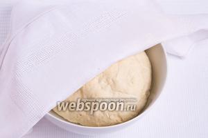Замешанное тесто накрываем салфеткой и оставляем в тепле на 30 минут, чтобы оно подошло.