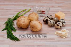 Для картофельной закуски нам потребуется: 3 средних картошки, 6 перепелиных яиц, 50 граммов твердого сыра, немного сливочного масла, соль, перец, орегано, паприка и несколько веточек укропа.
