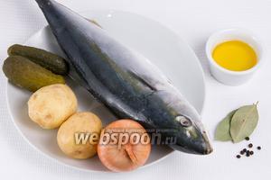 Основные ингредиенты: тунец, картофель, лук, огурцы, подсолнечное масло.