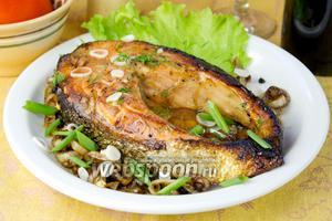 Жареный лосось в соевом соусе