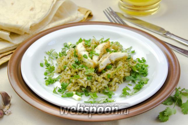 Фото Филе минтая с рисом и зеленью