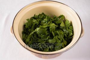 Сложить листья шпината в кастрюлю, закрыть её крышкой, поставить на медленный огонь. Через 2-3 минуты перемешать, сок отжать.