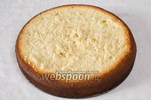 Достать из духовки бисквитную основу. Срезать верхнюю часть коржа.