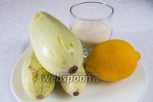 Чтобы приготовить варенье из кабачков с цедрой лимона, нам нужно взять сами кабачки, сахар, лимон, пару листков мяты.