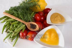 Для приготовления этого блюда, нужно взять фасоль, помидоры черри, укроп, мёд, горчицу, лимонный и апельсиновый соки, соль, перец, оливковое масло.