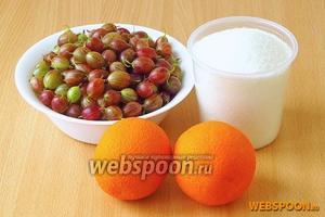 Для приготовления сырого пюре нужно взять спелые ягоды крыжовника, апельсины и сахар.