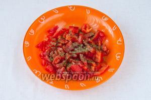 Высыпаем перец и помидоры в тарелку, добавляем специи, соль и перемешиваем.