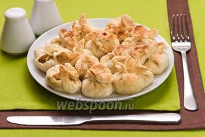 Мешочки с мясом и грибами