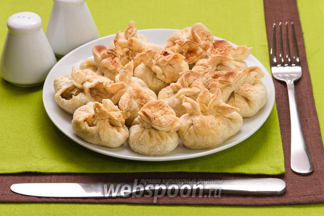 Фото Мешочки с мясом и грибами