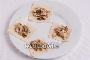 На каждый квадрат выкладываем смесь мяса и грибов, где-то по 1-2 чайной ложке.