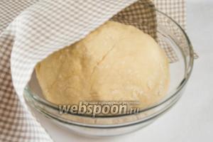 Переложить тесто на поверхность, посыпанную мукой, добавить соль и месить ещё 6 минут. Соль добавить на этой стадии, чтобы не было опасности, что она убьёт дрожжи. Переложить тесто в миску, накрыть влажной салфеткой и поставить в тёплое место на 1 час.