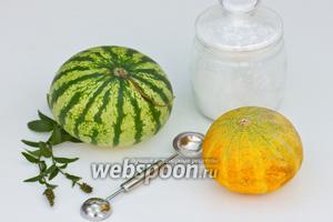 Подготовим необходимые ингредиенты: арбуз, дыню, мяту для украшения и сахарную пудру.