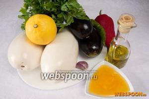 Чтобы приготовить баклажаны в карамели, необходимо взять баклажаны, соль, подсолнечное масло, мёд, чеснок, перец горький, перец сладкий, кориандр, сок свежего лимона, воду, петрушку.