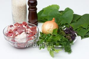 Подготовим необходимые ингредиенты: жирную мякоть свинины, репчатый лук, рис, виноградные листья, базилик, мяту, петрушку, укроп, соль и перец.  Рис отварить до полуготовности в подсоленной воде.
