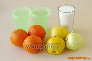 Для приготовления джема нужно взять яблоки (лучше сорта «Белый налив»), апельсины, сахар и 2 стакана воды.