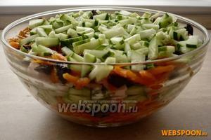 Затем повторите все слои сначала, каким слоем закончить — огурцами или морковью — решайте сами.
