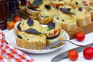 Бутерброды под сырно-базиликовой корочкой