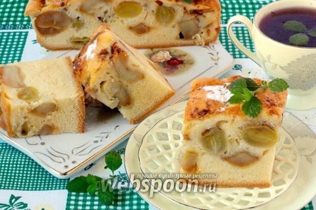 Фото «Накрахмаленный» яблочно-виноградный пирог