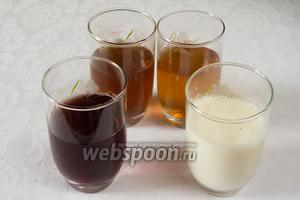 Приготовить 3 стакана с соками и стакан молока для заливки слоёв.