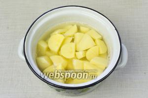 Картофель очистить, нарезать средними дольками и уложить в кастрюлю. Залить водой, посолить и варить до готовности приблизительно 20-30 минут.
