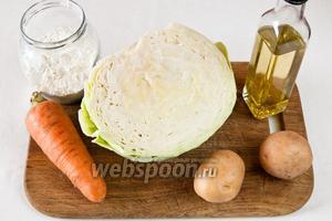 Для приготовления котлет понадобится: мука пшеничная, морковь, капуста, картофель, масло растительное или  топлёное   и соль.