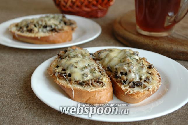 Фото Гренки с грибами и сыром