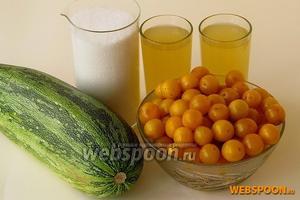 Для приготовления варенья нужно взять спелую жёлтую алычу, кабачки, сахар и ананасовый сок.