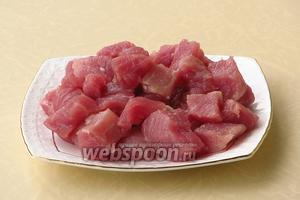 Мясо нарезать небольшими кубиками.