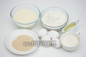 Для приготовления блинов из манной крупы нам понадобится мука пшеничная, манная крупа, яйца, сухие дрожжи, соль, сахар, рафинированное растительное масло, вода.