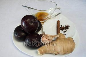 Чтобы приготовить соус, необходимо взять сливу, сладкое рисовое вино Мирин, уксус винный, сахар, соль, чеснок, свежий имбирь (2 см); специи: бадьян, гвоздика, корица, перец чёрный, перец душистый.