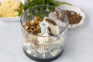 Измельчить с помощью блендера брынзу, чеснок, орехи, семена укропа.
