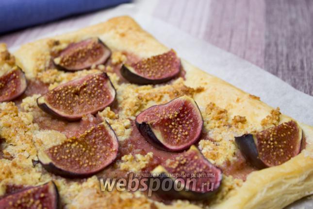 Фото Слоёный пирог с инжиром и миндалём