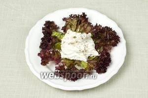 Листья салата вымыть и обязательно обсушить бумажными салфетками или кухонным полотенцем. Выложить на тарелку салат, сверху курицу в сметане.