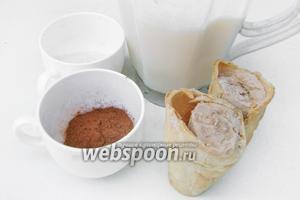 Для приготовления коктейля «Какао с мороженым» нам понадобится молоко, какао-порошок, сахар, шоколадное мороженое.