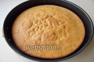 Выпекать бисквит в горячей духовке (190–210 °С) в течение 30–40 минут. Готовый пирог легко отстает от стенок формы.