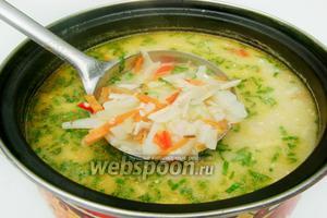Даём ещё раз закипеть и отставляем. Подаём суп горячим, с зеленью, сметаной или по своему вкусу.