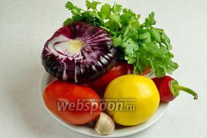 Чтобы приготовить соус Сальса, нужно взять 4 спелых томата, 1 луковицу сладкого фиолетового лука, острый перец, пару зубчиков чеснока, оливковое масло, сок одного лимона, соль, перец по вкусу, небольшой пучок кинзы.