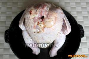 Насадите курицу на бутылку и поставьте на противень или сковороду для духовки.