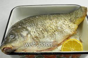 Карпа очистить, вымыть. Рыбу обильно взбрызнуть лимонным соком, натереть солью и перцем.