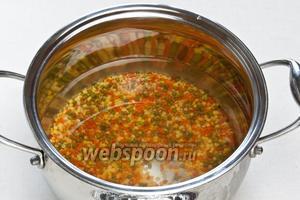 Чечевицу промыть, высыпать в кастрюлю, налить воду и варить на среднем огне до полуготовности около 15 минут.