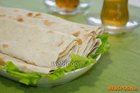 Фото рецепта Лаваш с творогом и зеленью