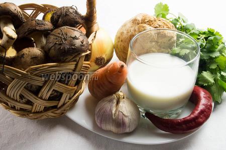 Для приготовления крем-супа нужно взять грибы маслята, корень сельдерея, лук, морковь, чеснок, молоко, перец острый, соль, кинзу.