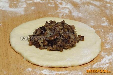 На лепёшки положить по 1 столовой ложке грибной начинки.