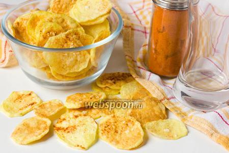Картофельные чипсы с паприкой в микроволновке