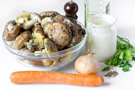 Для приготовления маслят в сметане нам понадобится сметана жирная, свежие грибы маслята, сухой тмин, репчатый лук, морковь, петрушка свежая, масло рафинированное подсолнечное, соль и чёрный молотый перец.