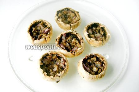 Шляпки грибов выкладываем на блюдо для микроволновой печи, равномерно раскладываем в них начинку из обжаренных грибов с луком.