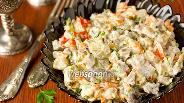 Фото рецепта Салат со свиным языком, шампиньонами и овощами