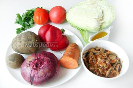 Для приготовления щей с консервированной килькой нам понадобится белокочанная капуста, картофель, лук, морковь, сладкий перец, помидоры, консерва «Килька в томате», свежая петрушка, подсолнечное нерафинированное масло, соль и чёрный молотый перец.