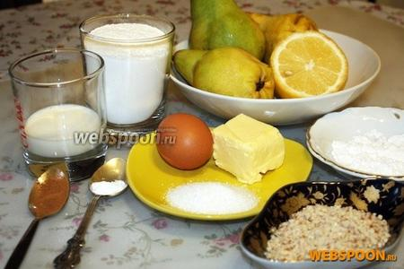 Для рецепта возьмём груши, лимон, сахар, сахарную пудру, масло сливочное, корицу, соду, яйцо, муку, миндаль молотый.